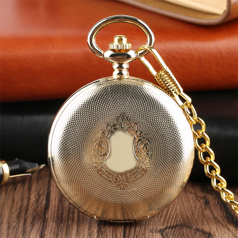 Golden Mirror Design Full Hunter Mechanical Hand Winding Pocket Watch Roman Numerals Dial Luxury Retro Souvenir Clock Gifts