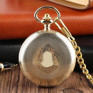 Image 1 - Gouden Spiegel Ontwerp Volledige Hunter Mechanische Hand Winding Zakhorloge Romeinse Cijfers Dial Luxe Retro Souvenir Klok Geschenken