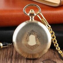 זהב מראה עיצוב מלא האנטר מכאני יד Winding שעון כיס רומי ספרות חיוג יוקרה רטרו מזכרות שעון מתנות