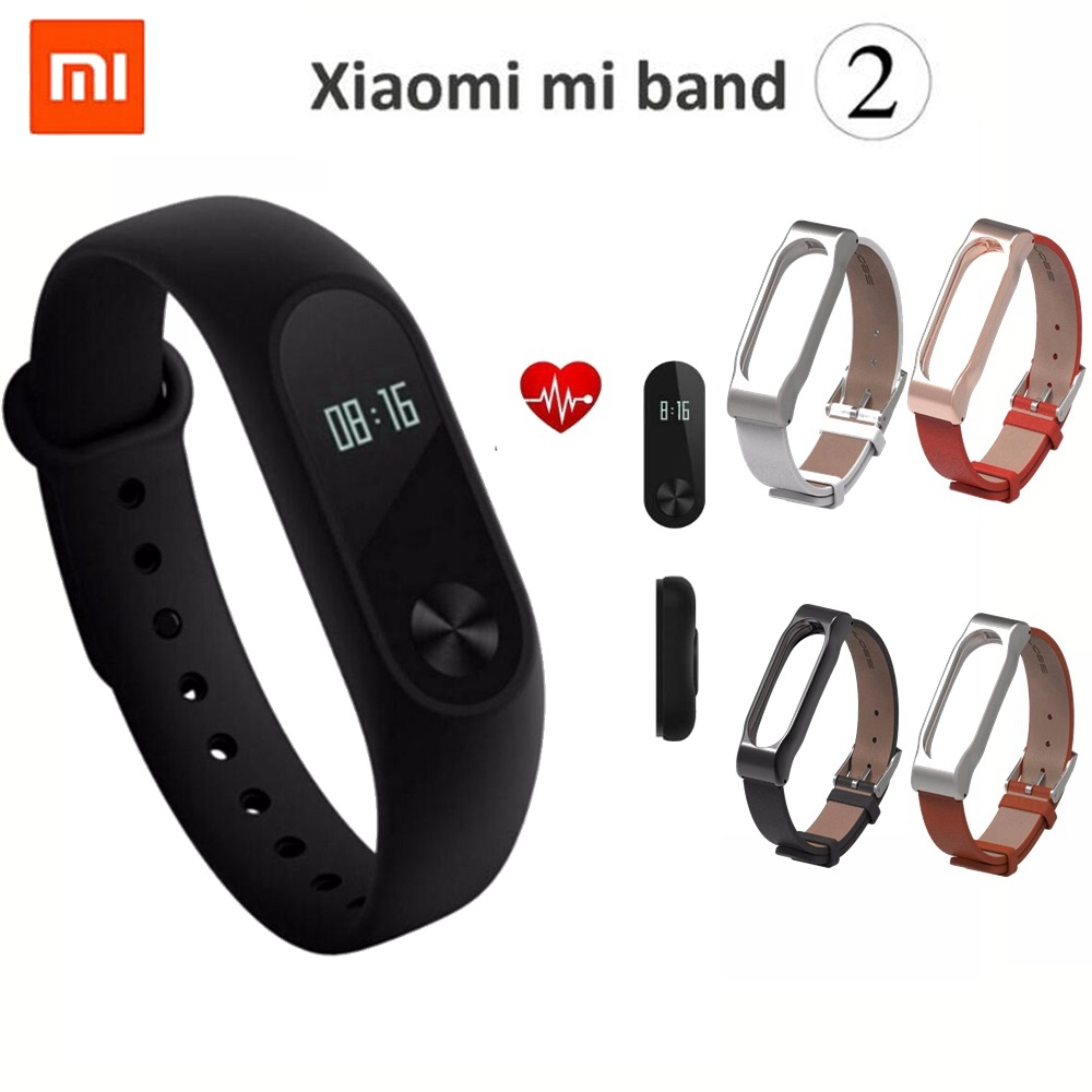 New Original Xiaomi Mi Band 2 Wristband Bracelet OLED Display Touchpad Smart Heart Rate Monitor Bluetooth
