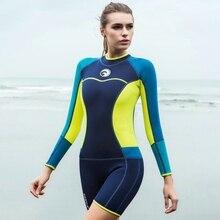 2018 New Hisea wetsuit 1.5mm neoprene jumpsuit Long sleeves short pants women swimming surfing swimsuit snorkeling Holt Sale