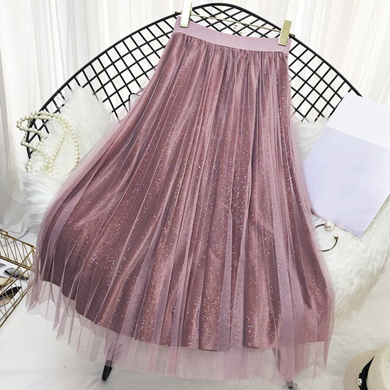 Women Autumn Pleated Skirts High Waist Slim Fit Pleuche Female Shining Long Skirt H9