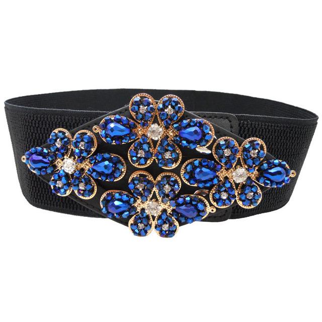 Ladies Crystal Cinturón Rhinestone Decoración de La Correa de Cintura Del Todo-Fósforo Broche Vestido de Dama Cadena de La Cintura Elástico Mujeres de La Pretina B-3567