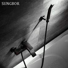 Luxury Bathroom Black Shower Faucet with Hand Shower Wall Mount Single Handle Solid Brass Bathtub Shower Mixer HS-8845H стоимость