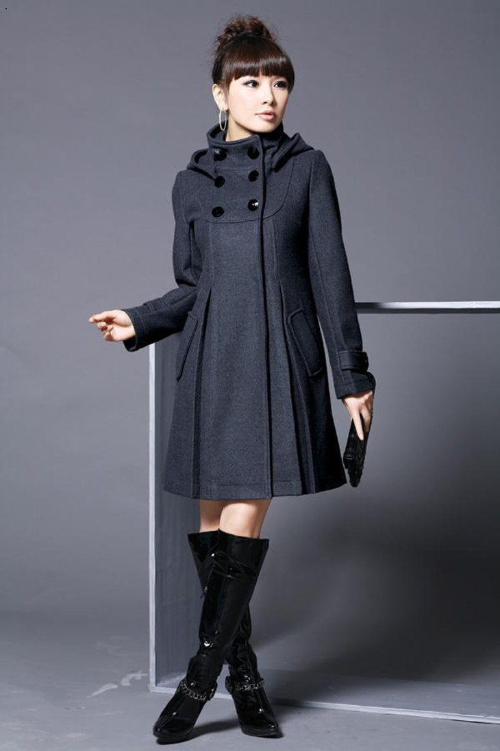 Elegant Coat for Women Pockets Casual Hooded Wool Coat and Jacket Solid Autumn Winter Women Clothes 2018 Plus Size 3XL 4XL 7