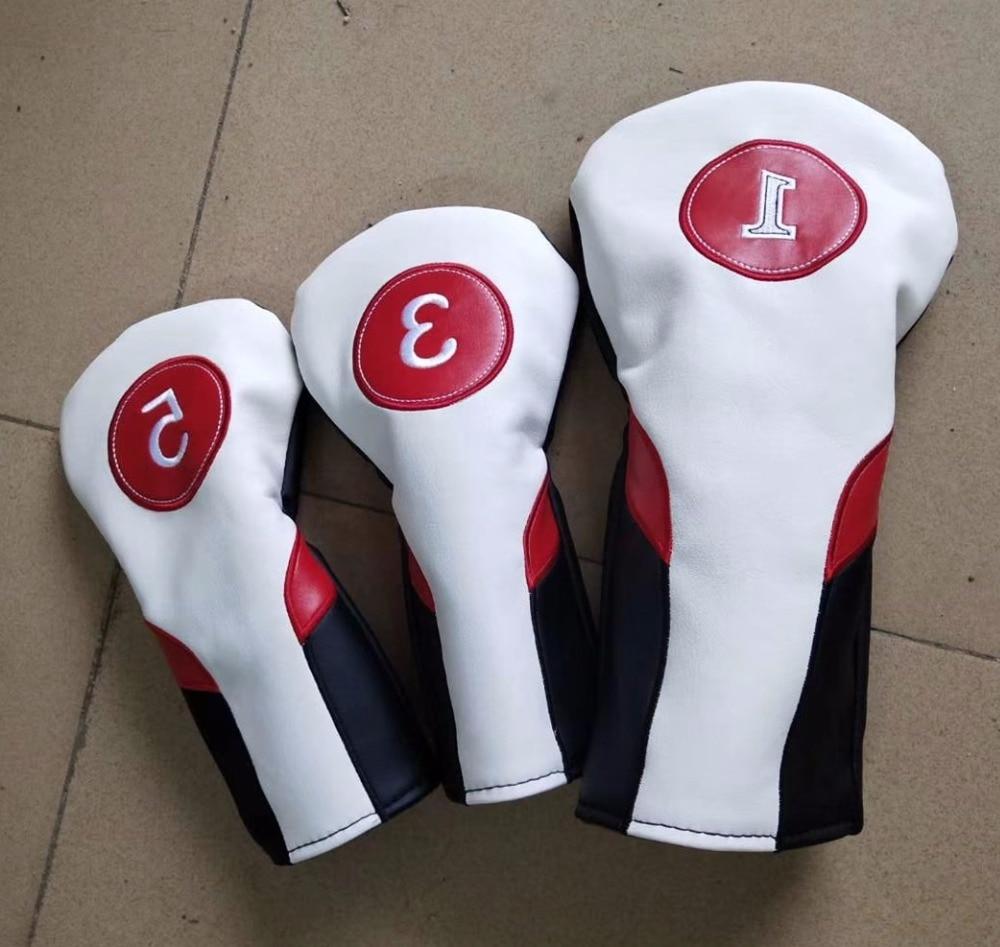 3 pcs/ensemble Date Universelle Golf Putter Protecteur PU En Cuir Bois Pilote Hybride Fairway 1/3/5 Golf Club capuchon Ensemble