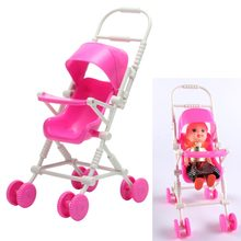 New Assembly Doll Miniature Supermarket Baby Stroller Trolley Nursery Furniture Toys Pink Shopping Pretend Toy Doll house Cart(China)