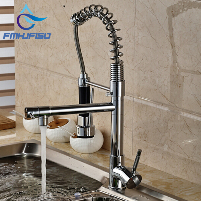 Best Quality Wholesale And Retail Hot Sale Chrome Brass Kitchen Faucet Dual Spout Swivel Bar Vessel Sink Mixer Tap Deck Mounted newly contemporary solid brass chrome finish arc spout kitchen vessel sink faucet thermostatic faucet mixer tap deck mounted