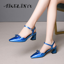 AIKELINYU Women Blue Sandals Basic Buckle Strap Patent Leather Solid Sweet Butterfly-knot Grace Shoes Hoof Heels Party Pump Lady