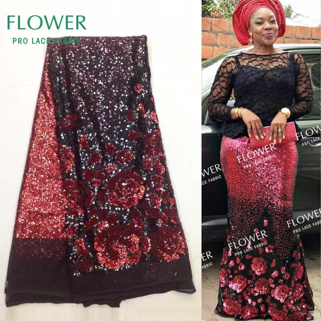 Red Flower Design Sequined Mesh Lace Fabric African Indian Guipure Net Laces  2017 Nigerian Style Wedding Dress Sequins Fabrics 3061a4dfe330