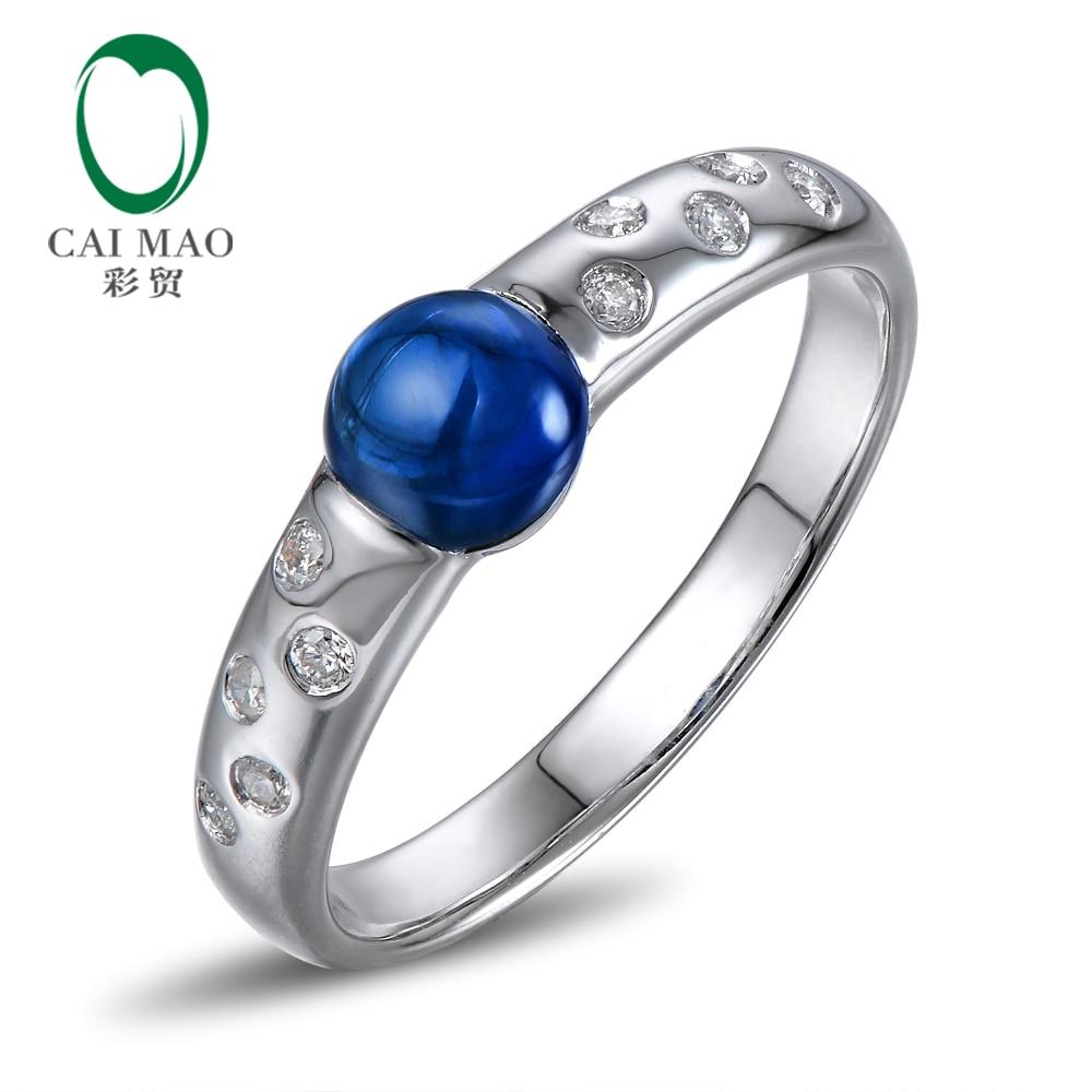 Anillo de aniversario de compromiso de diamantes de 5,0mm y oro blanco de 14K con corte de cabujón único de Caimao