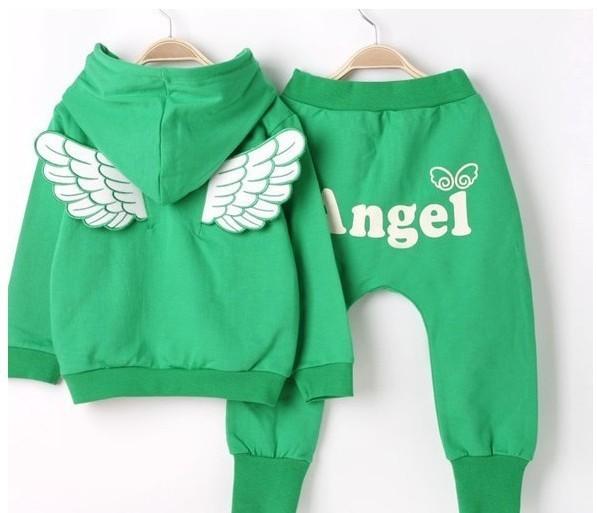 супер акции девушки одежда набор спорт повседневная одежда костюм с капюшоном зеленый цвет с ангельские крылья девушки костюм a254