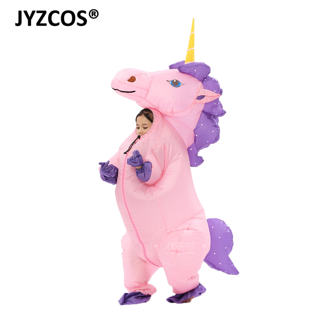 JYZCOS New Unisex Adults Kids Inflatable Unicorn Costume Carnival Halloween Costumes Animal Cosplay Clothing Fancy Dress Suits 4