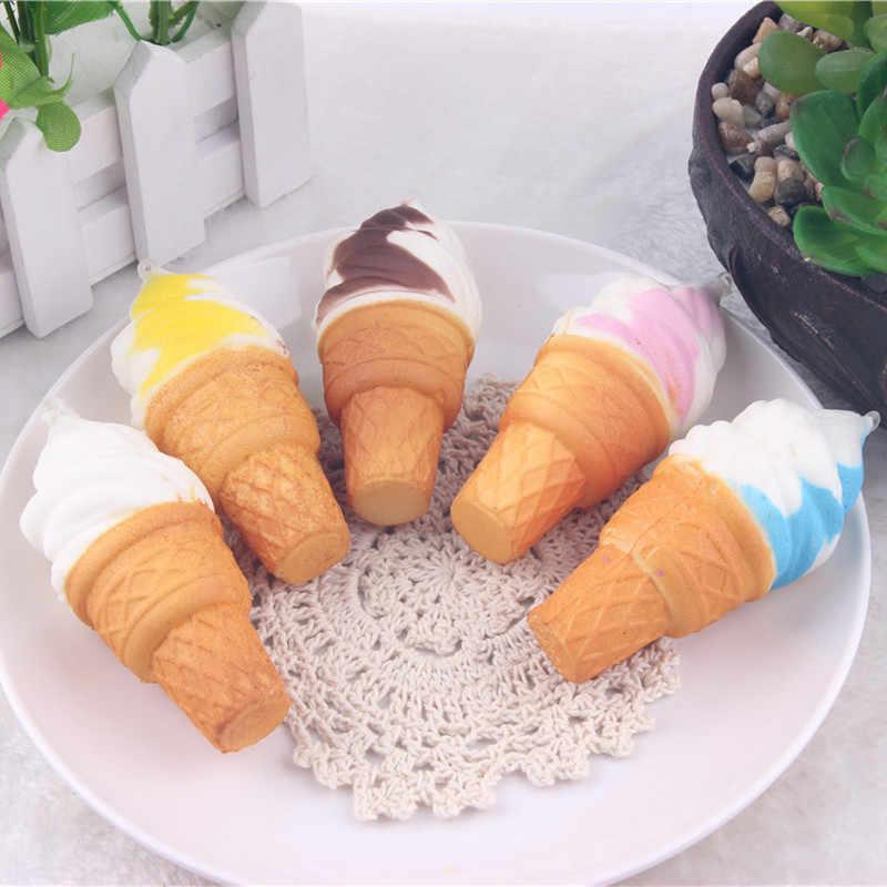 Helado Kawaii Jumbo blando lento aumento helado colgante teléfono correas encanto chico juguetes regalo pan perfumado con crema
