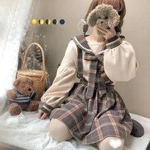 Милый женский комплект из 2 предметов: рубашка с длинным рукавом и матросским воротником+ клетчатая мини-юбка/клетчатые подтяжки, брюки, милая Весенняя женская мода