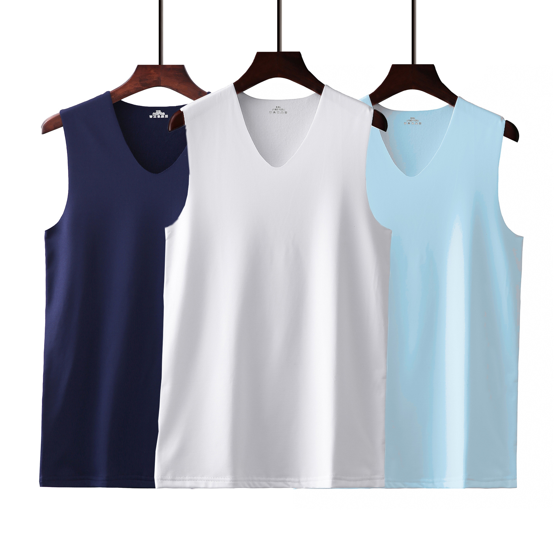 2020 Summer Ice Silk No Trace Men's Vest Thin Section Breathable Wide Shoulder V-neck Sleeveless Shirt Sport Vest M-XXXL
