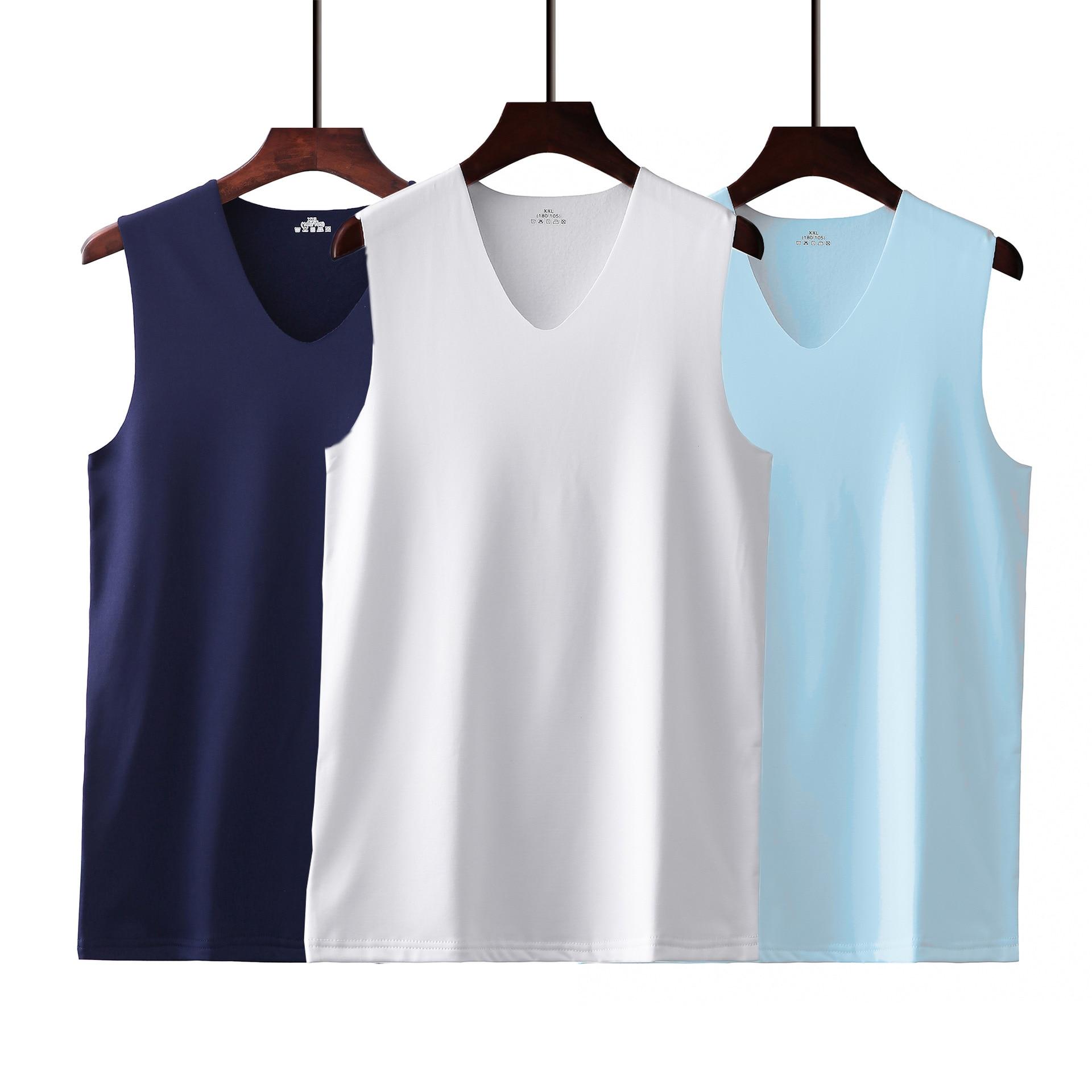 2020 Summer Ice Silk No Trace Men's Vest Thin Section Breathable Wide Shoulder V-neck Sleeveless Shirt Sport Vest M-XXXL