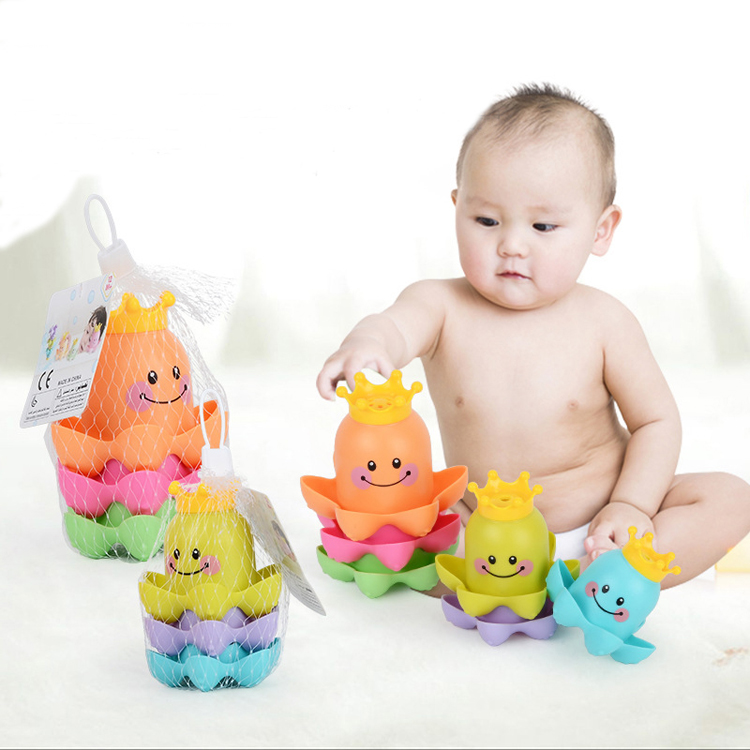 Bathroom Ocean Octopus Stacking Cups Child's Play Educational For Children Baby Bath Toys Bathing Tub Shower Toy