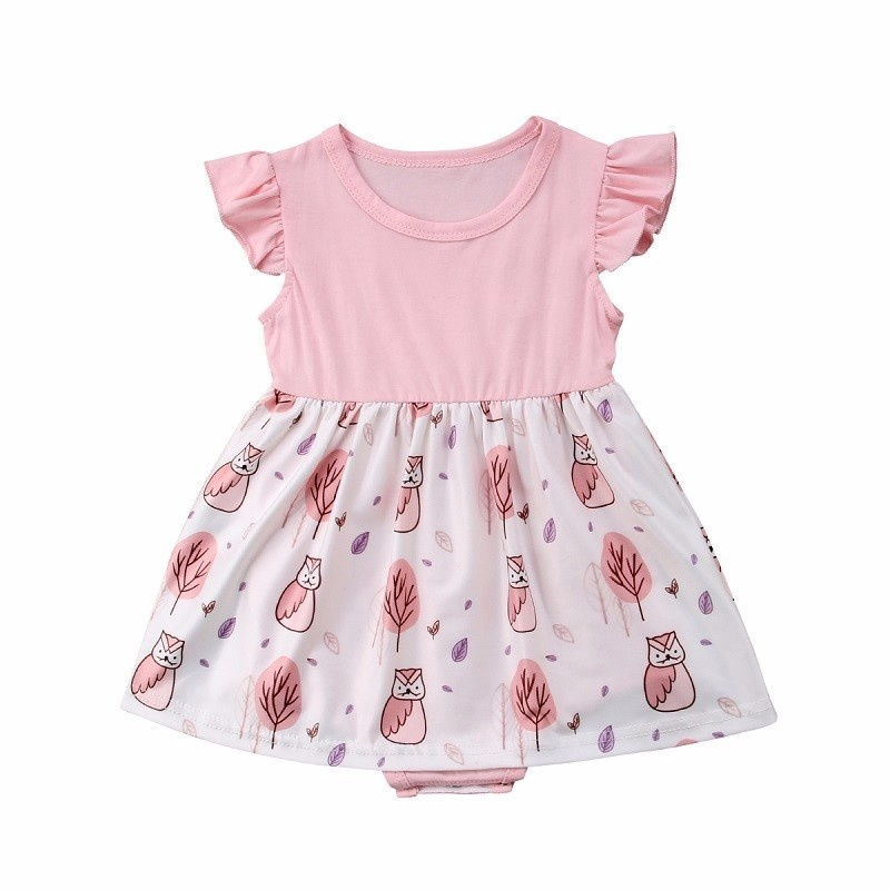 Summer Toddle Baby Girl Clothes Girls Dresses Print Ruffles Owl Kids Dress Romper Jumpsuit Nighthawk Children Outfit Set