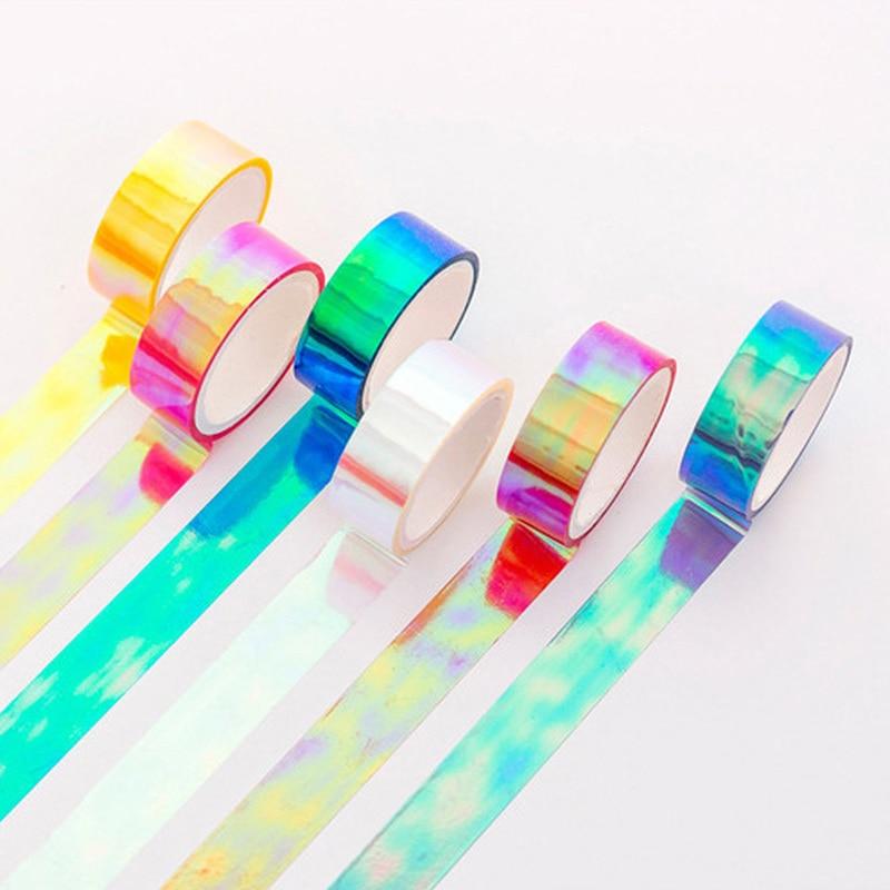 Washi Tape Klebeband Decorado Wide Glitter Rainbow Thin Washi Tape Stickers Scrapbooking Cinta Adhesiva Decorativa Paper Tape