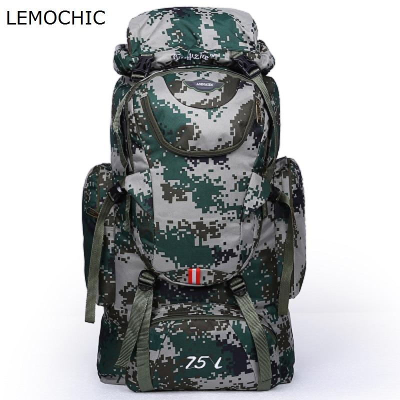 Prix pour LEMOCHIC Haute qualité professionnel masculin femmes sac capacité sports de plein air escalade sac à dos camping toile randonnée sac à dos