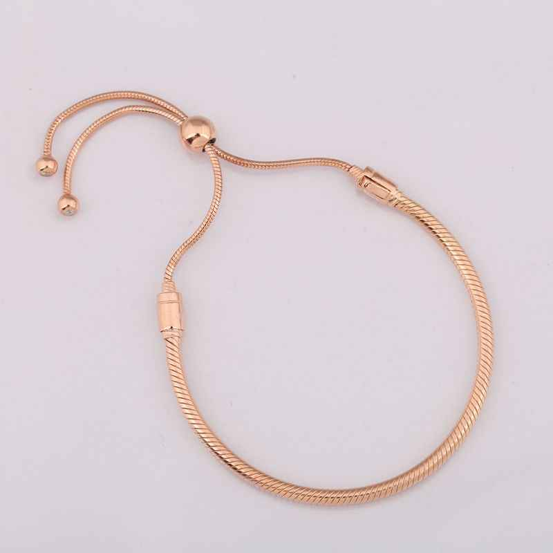 925 Sterling Silver Rose Gold Moments Sliding Clasp Adjust Pandora Bracelet Bangle Fit Women Bead Charm Diy Europe Jewelry