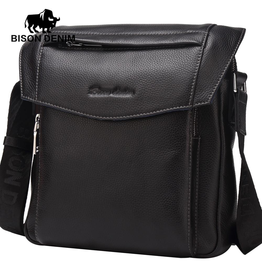 ФОТО BISON DENIM 2017 Style Genuine Leather Messenger Bags for Men Cover Shoulder Bag high quality brand design cross body bags N2541