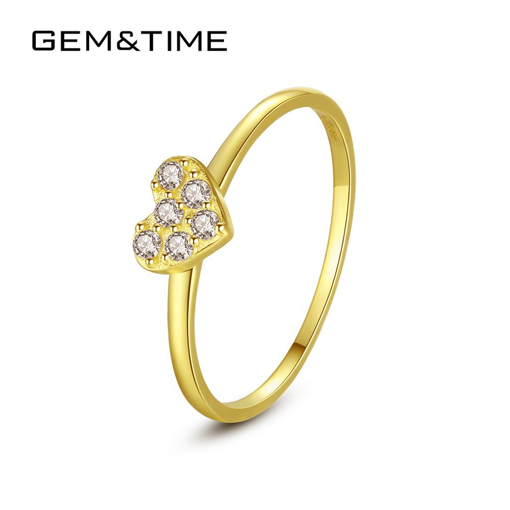 Gem&Time Solid Pure 14k Gold Rings for Women Wedding Engagement Fine Jewelry Yellow Gold Heart Anillos De Ouro Pur Au585 R141131Gem&Time Solid Pure 14k Gold Rings for Women Wedding Engagement Fine Jewelry Yellow Gold Heart Anillos De Ouro Pur Au585 R141131