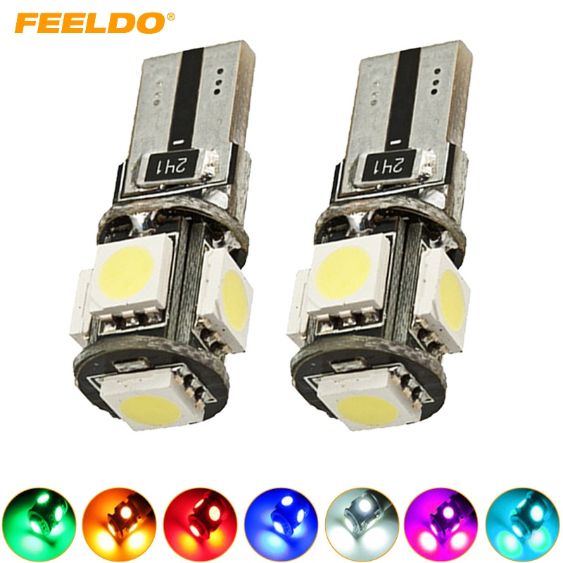 4Pcs Wedge T10/W5W/194/168 5050 <font><b>5</b></font> SMD <font><b>5</b></font> LED NO ERROR CANBUS Car LED Light Bulbs Door Light 7-Color #FD-<font><b>2640</b></font> image