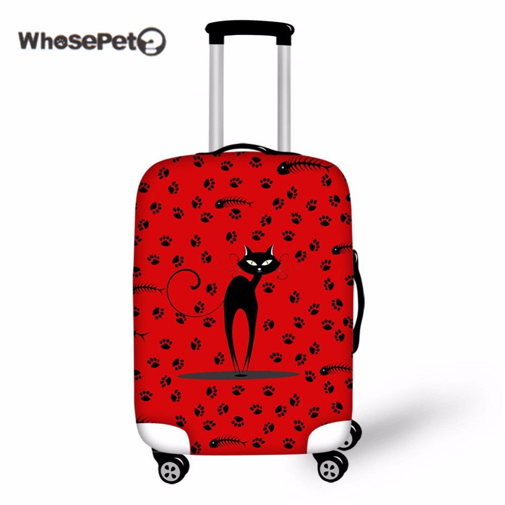 WHOSEPET Black Cats Case Cover For Trunk Cute Travel Suitcase Thick Elastic Anti dust Luggage Protective Cute Covers With Zipper