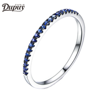 DUPUY Real Blue Sapphire Wedding Ring Half Eternity Pave Sapphire Ring Stackable Danity Gemstone Match Ring 14K White Gold