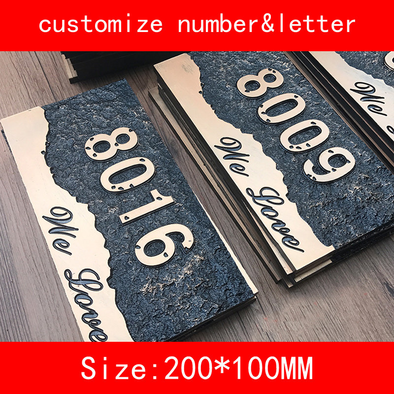 PMMA size 20*10cm retro luxury design Numbers and letter Customized House Hotel Door Plates class numbers quadratic and cyclotomic fields