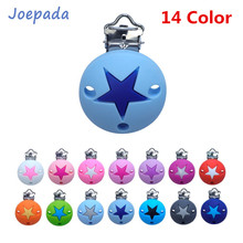 Joepada 14Color Round Star Silicone Pacifier Clips  Chewable Silicone Beads Baby Teething Nipple Holder Food Grade Baby Teether other 14color 80
