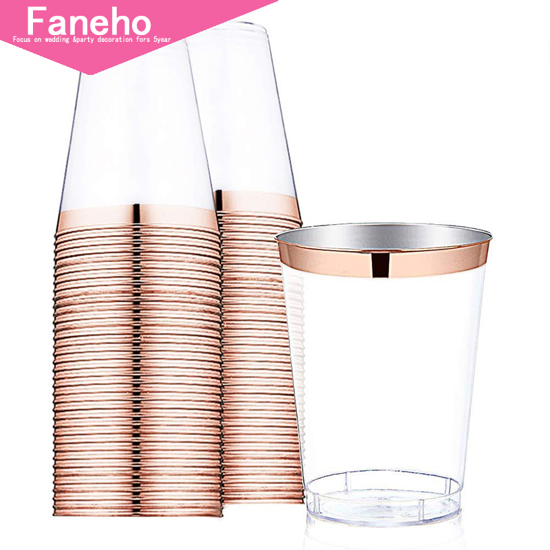 10 oz Rose Gold Plastic Cups Disposable Clear Plastic Cups With Rose Gold Rim Hard Party