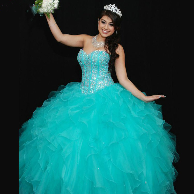 Aliexpress.com : Buy Organza Ball Gown Turquoise Quinceanera ...