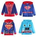 2016 Superman Spiderman Toddler Kids Boy Sudaderas Con Capucha Chaqueta de Ropa prendas de Vestir Exteriores