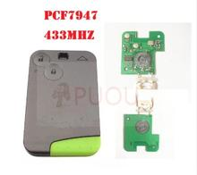 5PCS/LOT 2 Buttons Smart Remote Key PCF7947 Chip 433Mhz for Renault Laguna Espace Card without logo