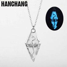 Luminous New 2017 Dragon Pendant Necklace Bijouterie Men Chain Jewelry The Elder Scrolls V Skyrim Choker Chain Accessories