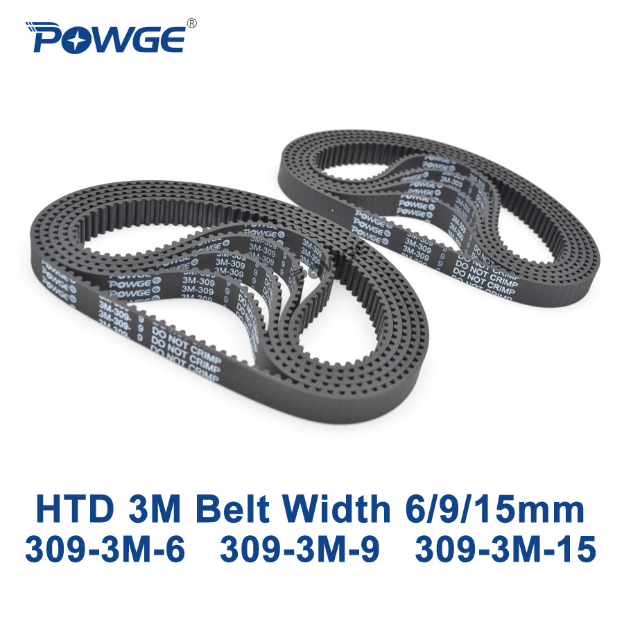 POWGE HTD 309 3M Timing belt Pitch length 309mm width 6mm 9mm 15mm Teeth 103 Rubber HTD3M synchronous belt 309-3M in closed-loop 20 60 teeth htd3m timing pulleys 15mm width 180 300mm length timing belts and 3m open timing belt