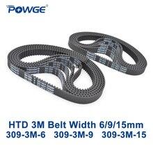 POWGE 309 3 M correa de Distribución HTD Pitch longitud 309mm ancho 6mm 9mm 15mm 103 Dientes HTD3M correa dentada De Goma 309-3 M en circuito cerrado