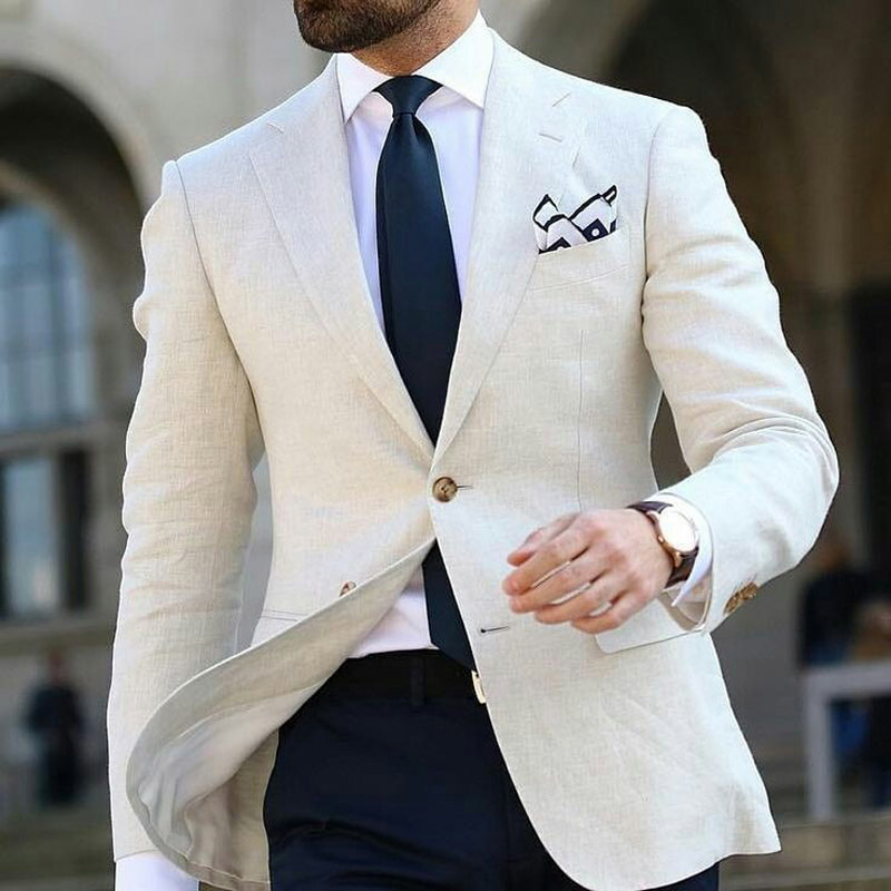 Custom Beige Linen Men Suits Blazers 2019 Groom Wedding Tuxedos Slim Fit Bridegroom Wear 2piece Coat Trousers Terno Masculino