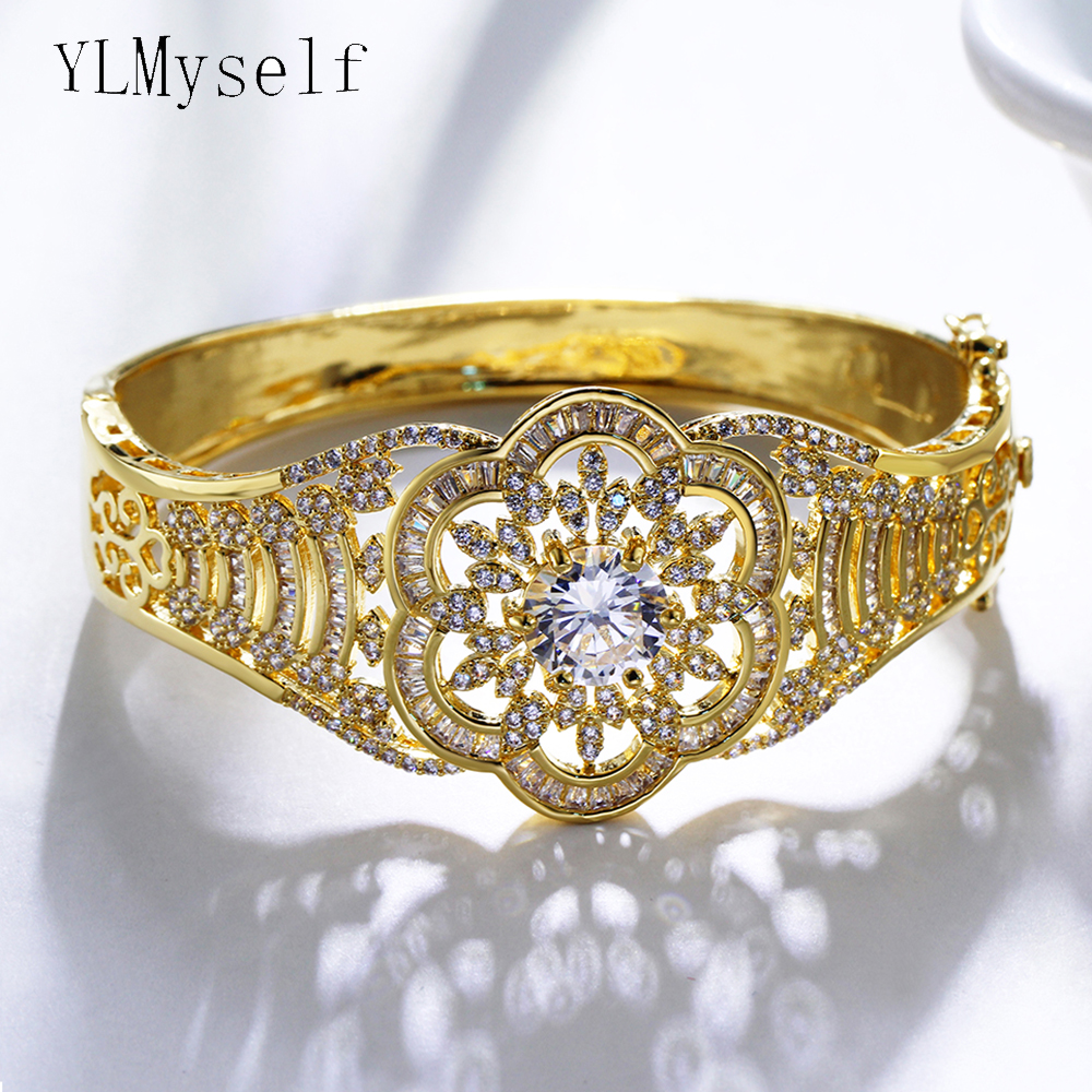 Luxury flower bangle white and gold-color middle east jewelry top quality aaa crystal big women party Bracelet