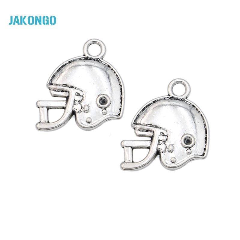 JAKONGO Hot Sale Antique Silver Football Helmet Charms Pendants for Jewelry Making DIY Handmade Craft 19x20mm