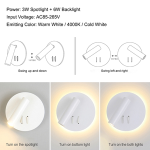 Image 5 - נורדי LED קיר מנורה עם מתג 3W spotligh 6W תאורה אחורית משלוח סיבוב פמוט מקורה קיר אור לבית הלילה בחדר שינה