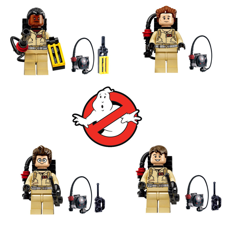 4pcs/lot Bricks Super Heroes Ghostbusters Figures Fastic Assemble Building Block Collection Toy Compatible With Brand Weapon(China)