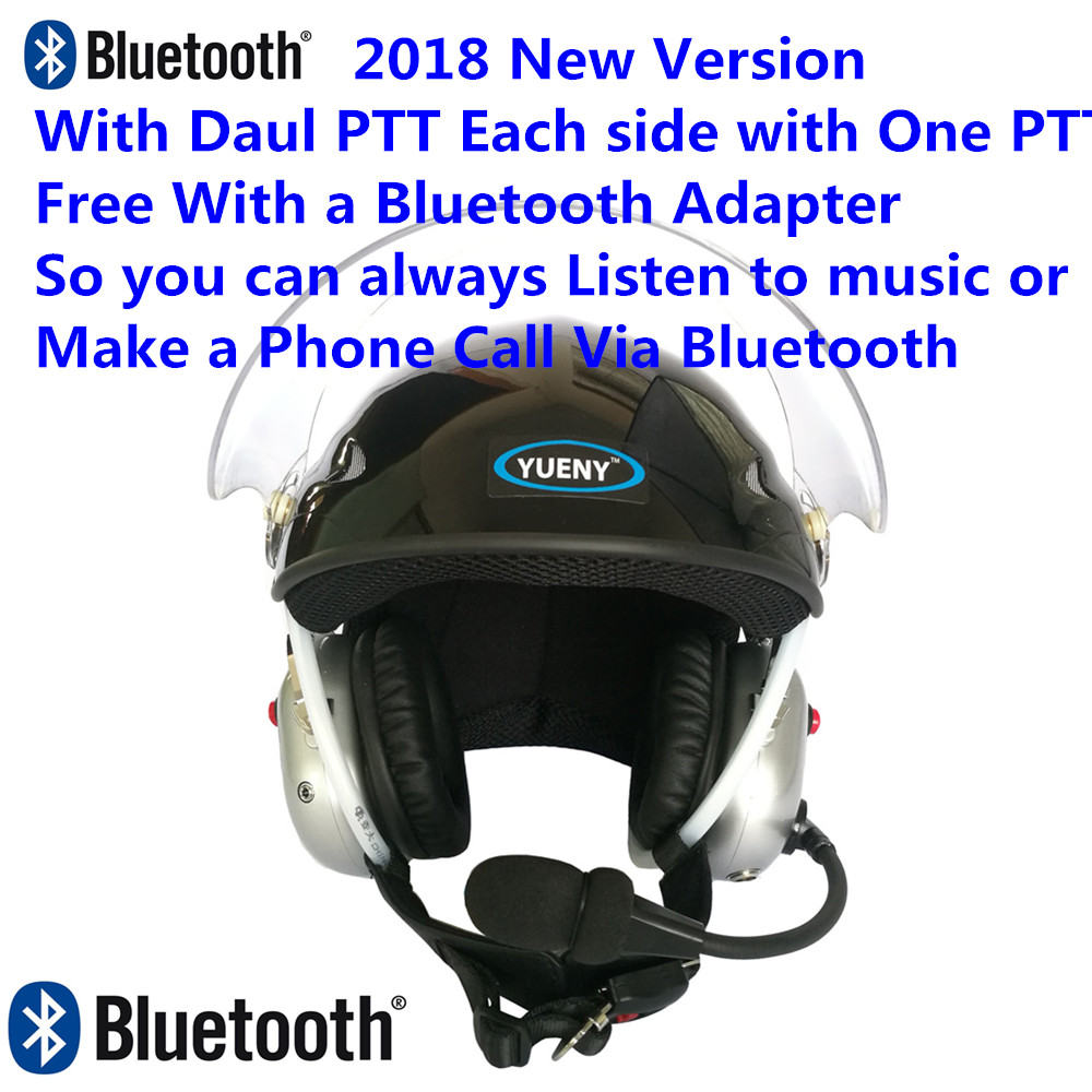 2018 New YUENY paramotor helmet with silver noise canceling headset FREE with BLUETOOTH Adapter powered paragliding
