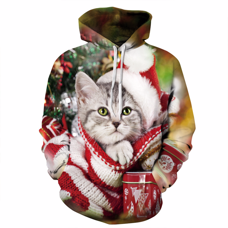 New Design Christmas Cat 3D Print Hoodies Sweatshirt Men Women Hooded Sweats Tops Hip Hop Unisex Graphic Pullover 3XL