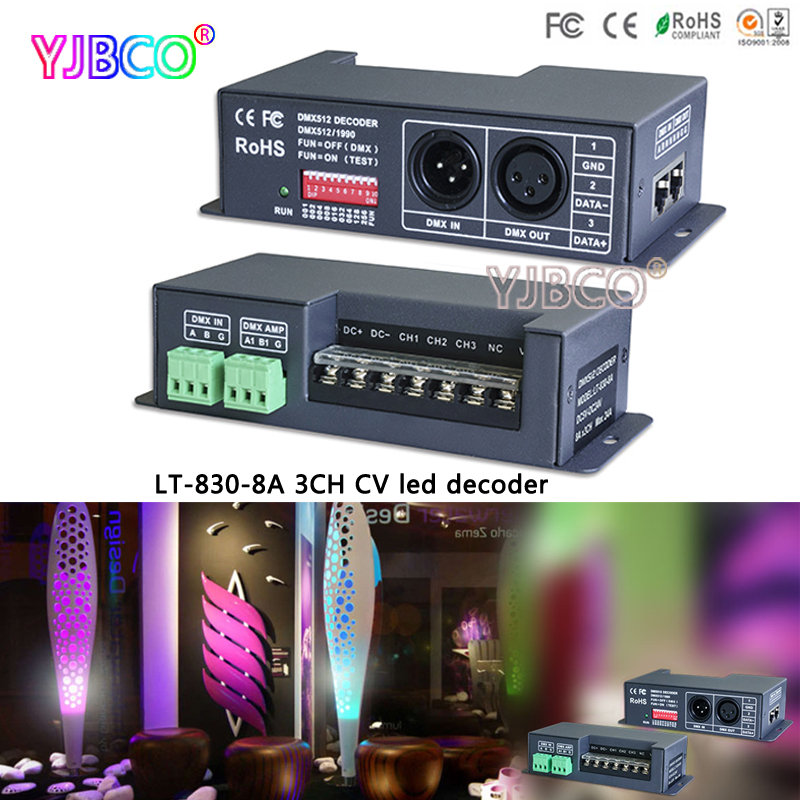 LT-830-8A DMX-PWM CV RGB Controller Dimmer Drive 3CH 8A RDM DMX512 signal LED Decoder For LED Strip light lamps DC5V-24V dmx301 low voltage dc12 24v led dmx controller with lcd digital display 8a channel 3 channels for rgb led strip light bulb lamps