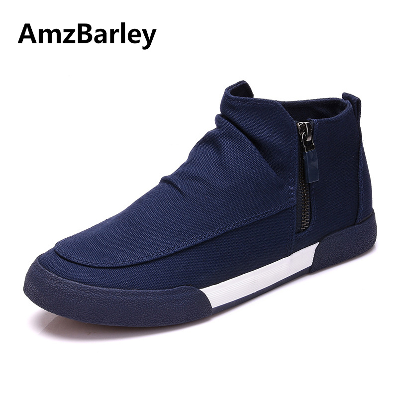 AmzBarley Men Shoes Flats Footwear Canvas Zip High Top Casual Shoe Trainers Baskets Walking Adult Plian Zapatillas 2018 Fashion male casual shoes soft footwear classic men working shoes flats good quality outdoor walking shoes aa20135