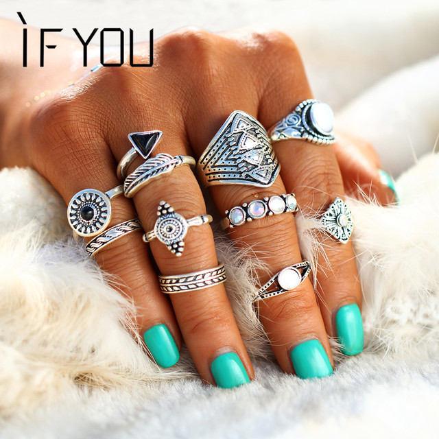 IF YOU 10PCS/Set Vintage Bohemian Midi Ring Sets Turkish Mujer Natural Opal Ston